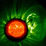 A large cloud of particles by Solar eruption
