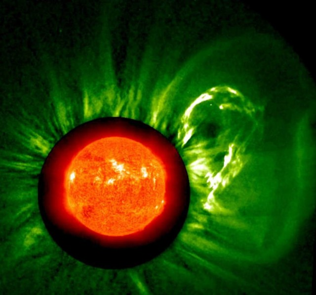 A large cloud of particles by Solar eruption on Feb. 9-10