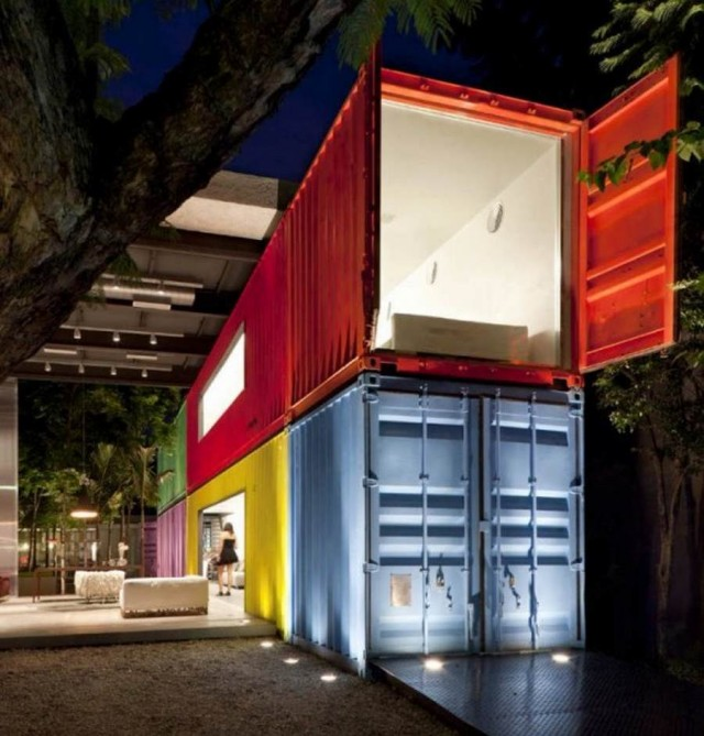 Colorful container residence by Marcio Kogan in Sao Paulo, Brazil
