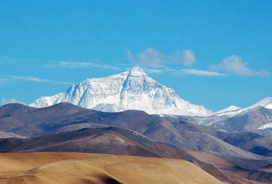 Everest seen from Tingri village on the Tibetan plateau