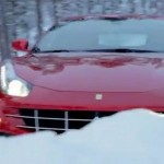 Ferrari FF on a snow-covered forest