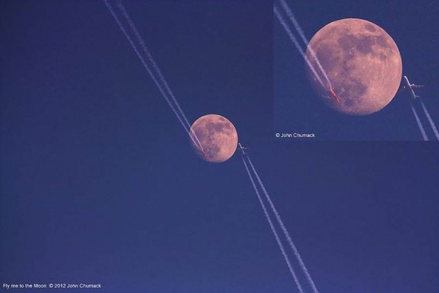 Two aircraft met up in the sky across the waxing gibbous Moon
