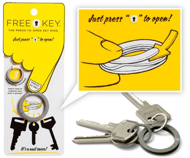 Freekey- Press to open- key ring