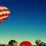 Hot air balloons launching