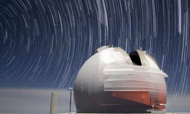 Keck Telescopes in motion in Mauna Kea Hawai
