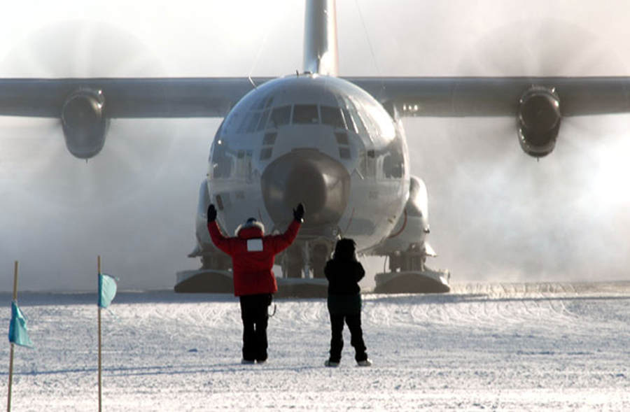 The last LC-130 aircraft at South Pole Station for the 2011-12 field season