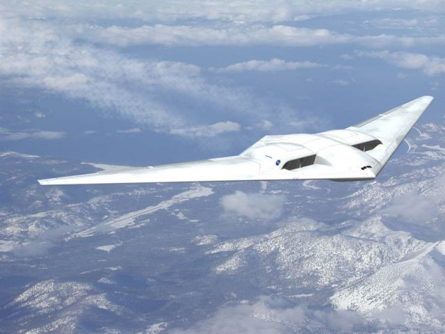 "Northrop Grumman's concept ""flying wing"" design"