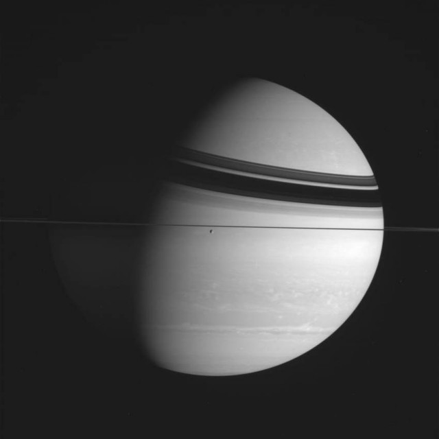Cassini spacecraft pointing toward Prometheus moon of Saturn