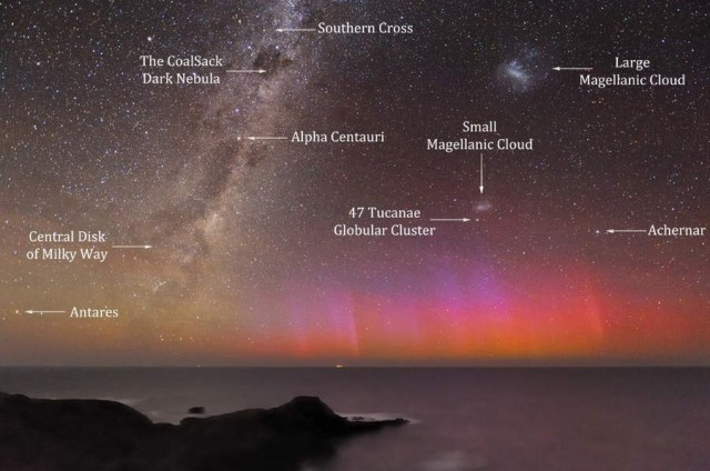 Red Aurora with milky way and stars