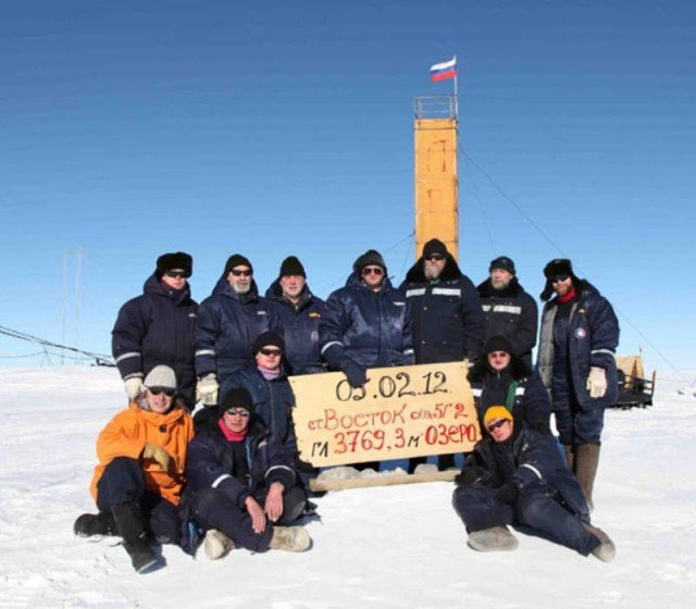 The team of Russian researchers that reached the prehistoric Lake Vostok