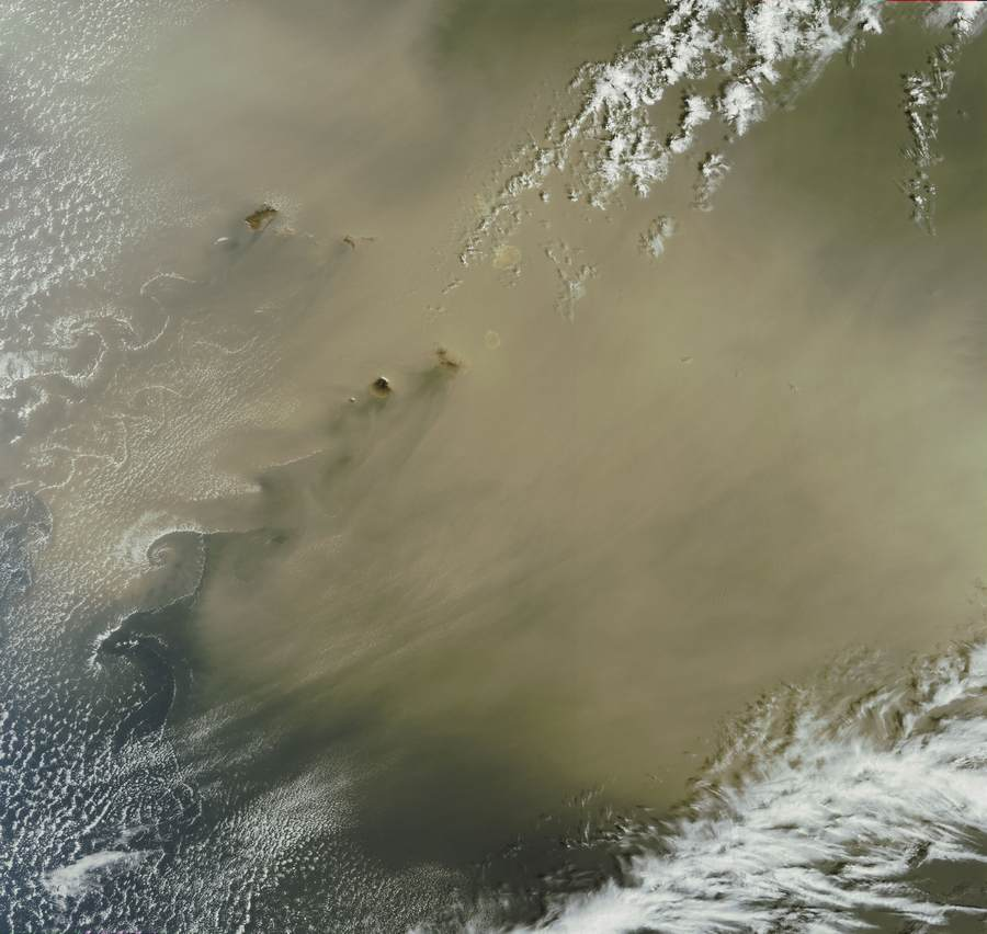 Thick dust from the Sahara forming cloud vortex streets over the Atlantic