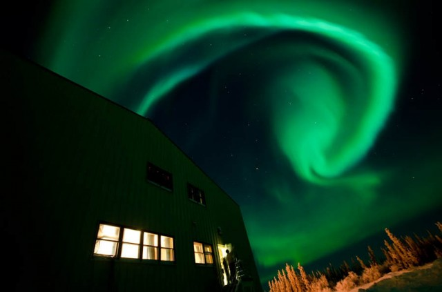 Swirling Aurora in Fort Yukon, Alaska