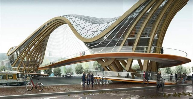 An inhabitable bridge for Amsterdam by Laurent Saint-Val
