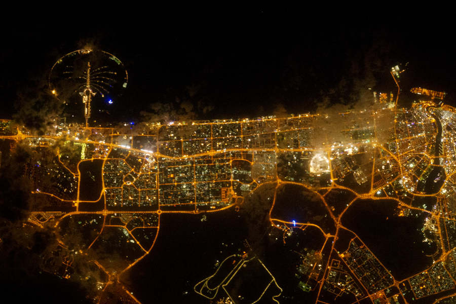 City Lights of Dubai from ISS