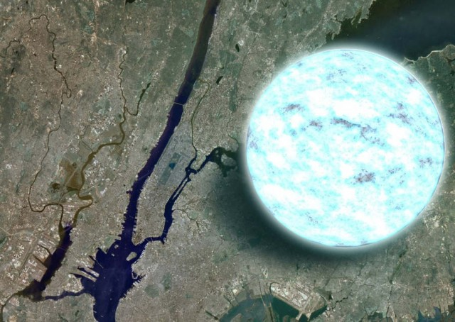 Compare the size of a neutron star to Manhattan