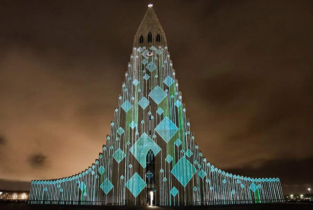 Icelandic church light projections by Marcos Zotes