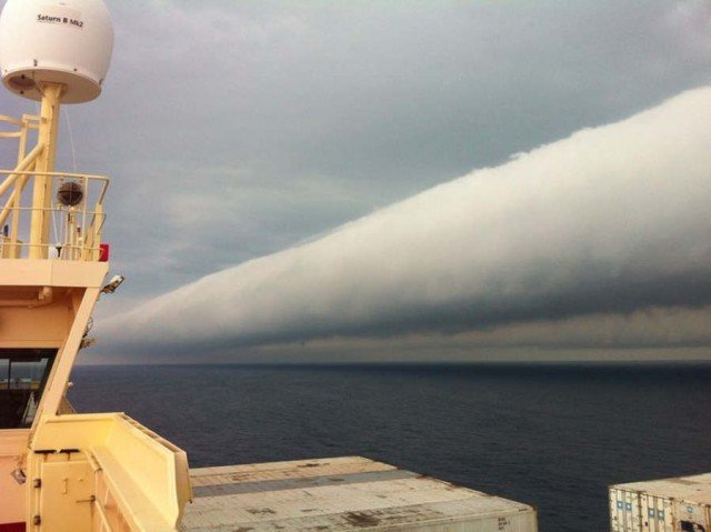 Roll cloud off coast of Brazil was taken aboard ship