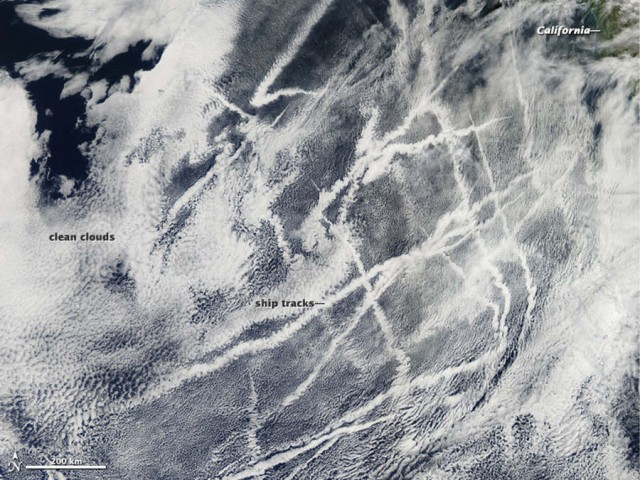 Ship Tracks off the California coast from Aqua satellite