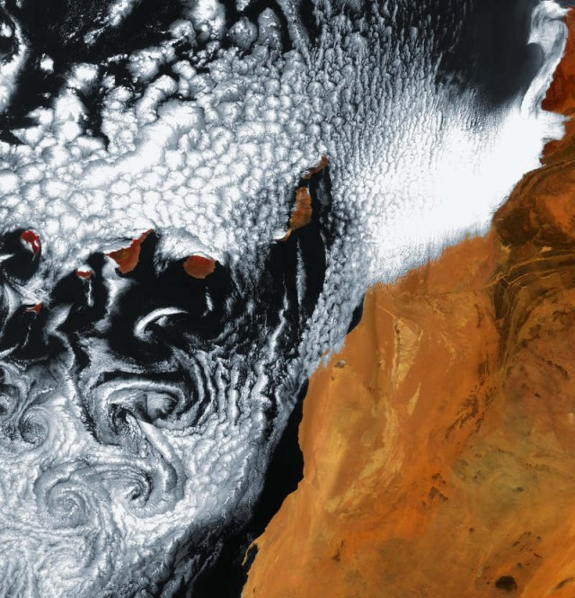 Von Karman vortices, South of the Canary Island archipelago