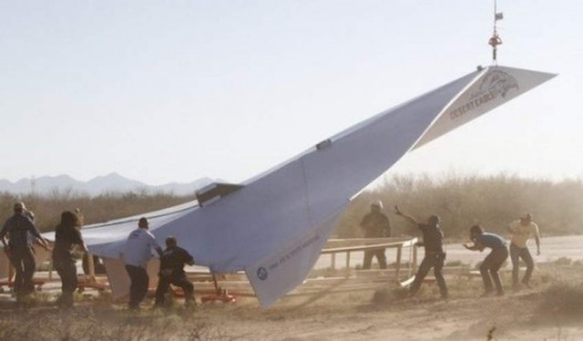 The biggest paper airplane ever constructed by PIMA Air & Space Museum