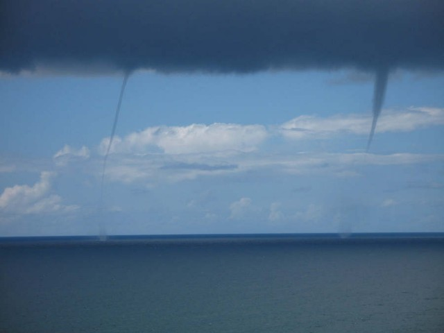Twin Waterspouts offshore of Encinitas, California