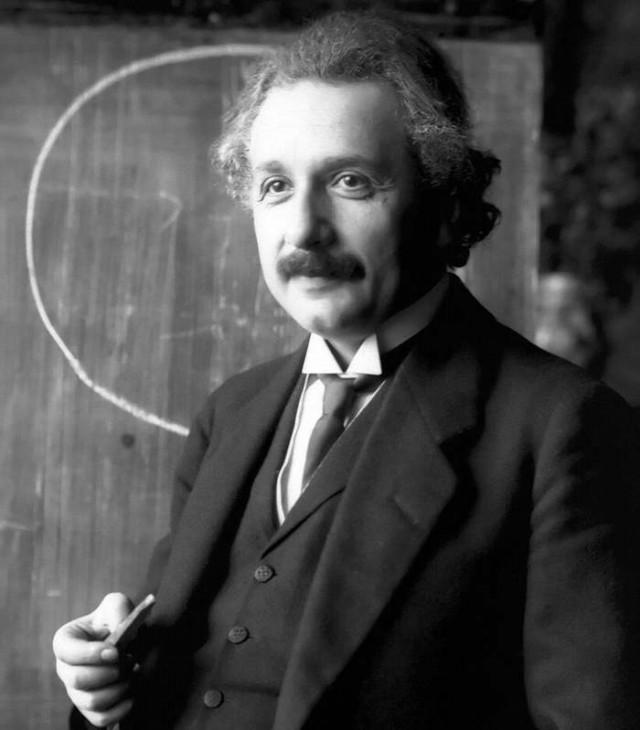 Albert Einstein during a lecture in Vienna in 1921