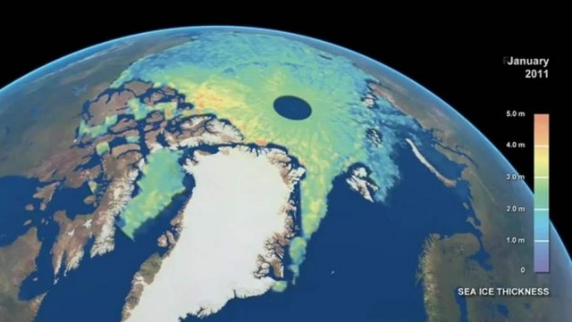 Detailed map of Arctic sea-ice thickness from ESA's CryoSat satellite