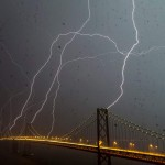 Eight Lightning Bolts Striking San Francisco