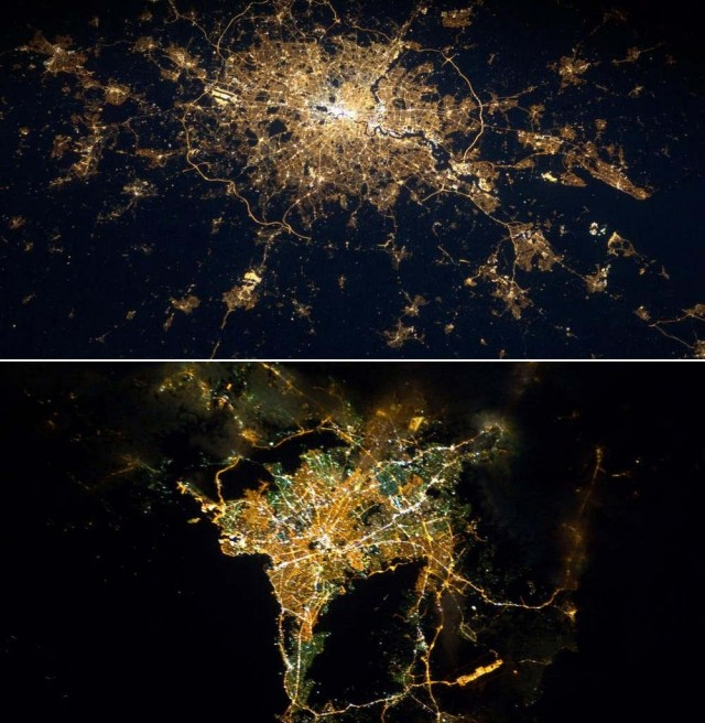 London and Athens from ISS