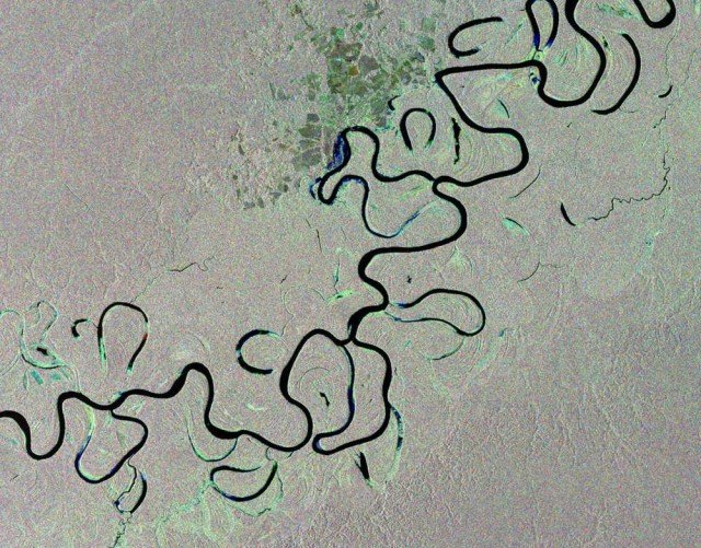Juruá River snaking through the Amazon rainforest from Envisat satellite