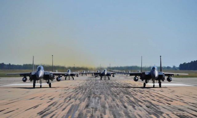 Seventy F-15 fighters ready for take off from Seymour Johnson Air Force Base