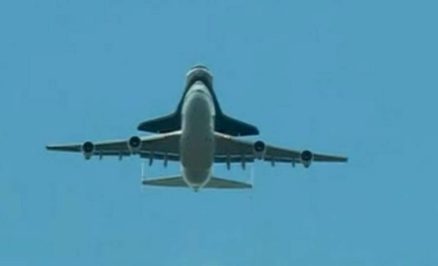 Space Shuttle Enterprise flying over NYC