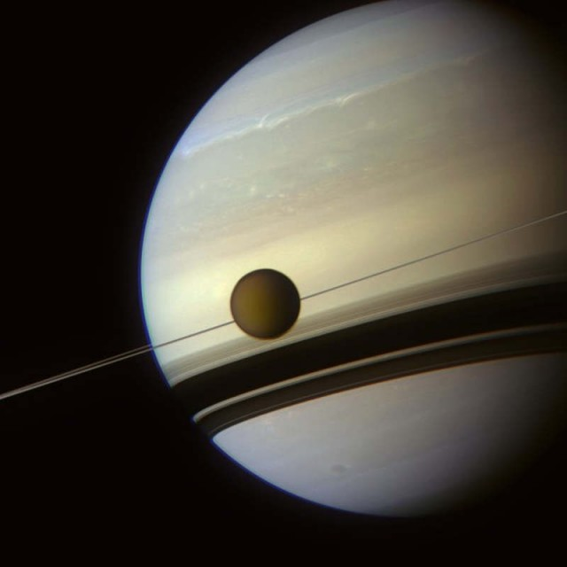 Titan and Saturn acquired by Cassini spacecraft on May 6