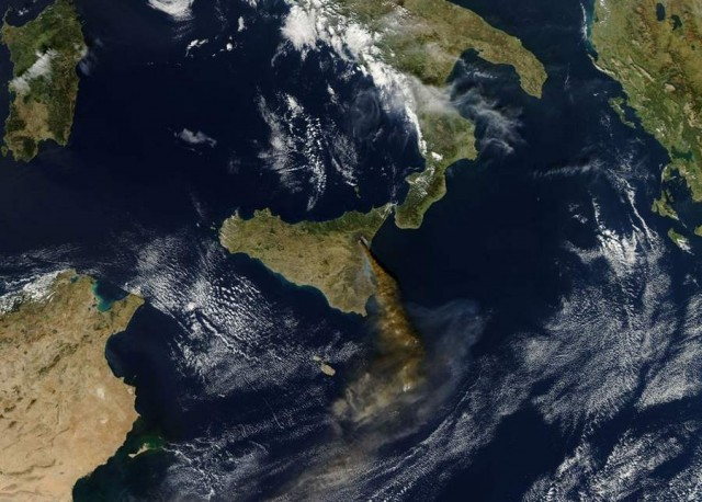 Mount Etna is Europe's most active volcano from Aqua satellite