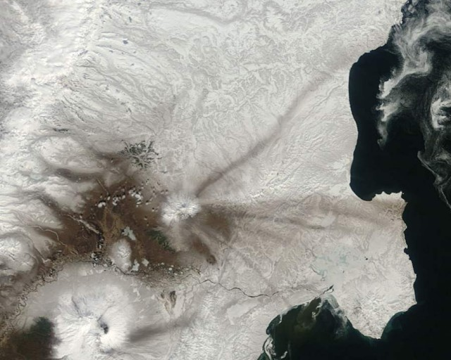 Ash on snow from Shiveluch, Kamchatka Peninsula, eastern Russia from Aqua satellite