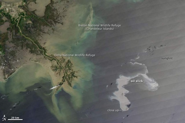 An estimated 42,000 gallons of oil per day were leaking from an oil well in the Gulf of Mexico, on April 20, 2010, from Aqua satellite