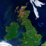 British Isles are seen under clear skies