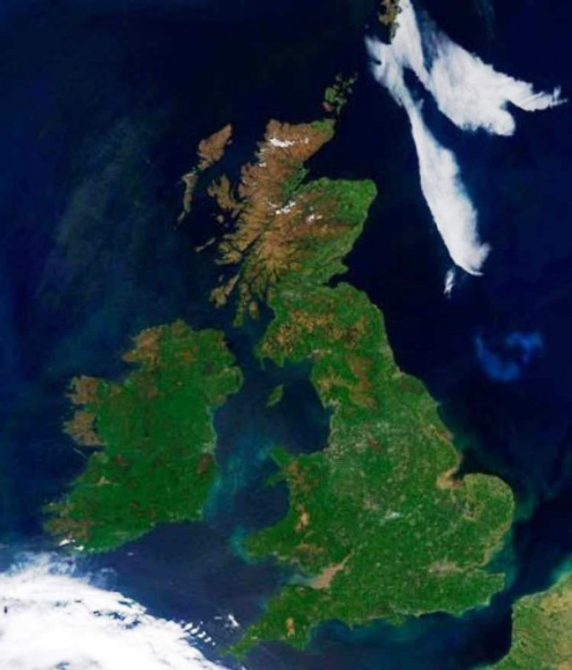 British Isles are seen under clear skies from satellite