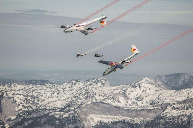 The Red Bull Skydive Team fly high over Austria