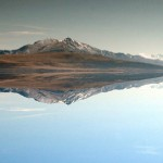 Reflection of Antelope Island in Great Salt Lake