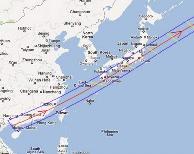 Path of the annular eclipse across China and Japan on May 20