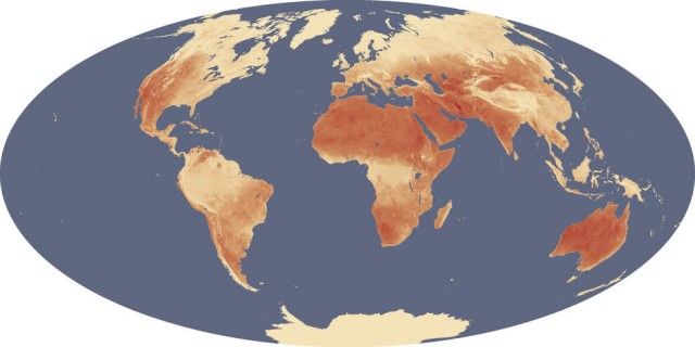 Global maximum land surface (or skin) temperatures