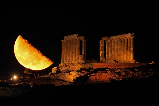Third Quarter Moon and Temple of Poseidon, Sounion