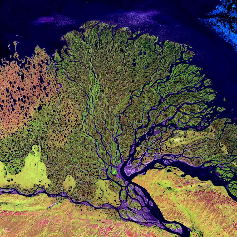 Lena river Delta by Landsat 7's Enhanced Thematic Mapper plus