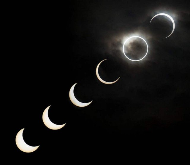 Various stages of the solar eclipse in Tokyo May 20 2012