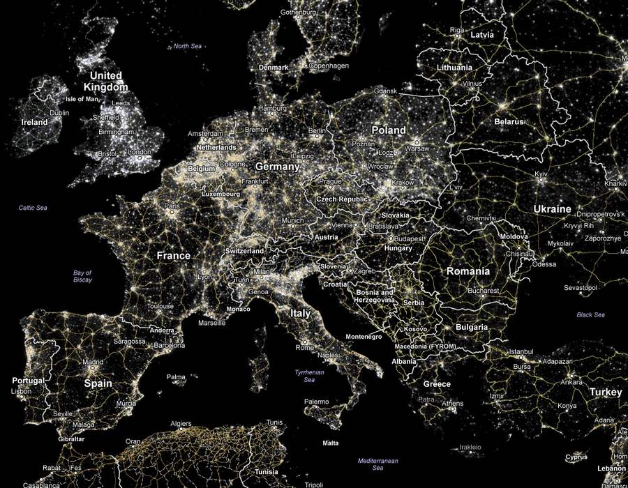 We are losing our starry night wordlesstech europe at night click here to see an interactive google map of the world showing city lights gumiabroncs Gallery