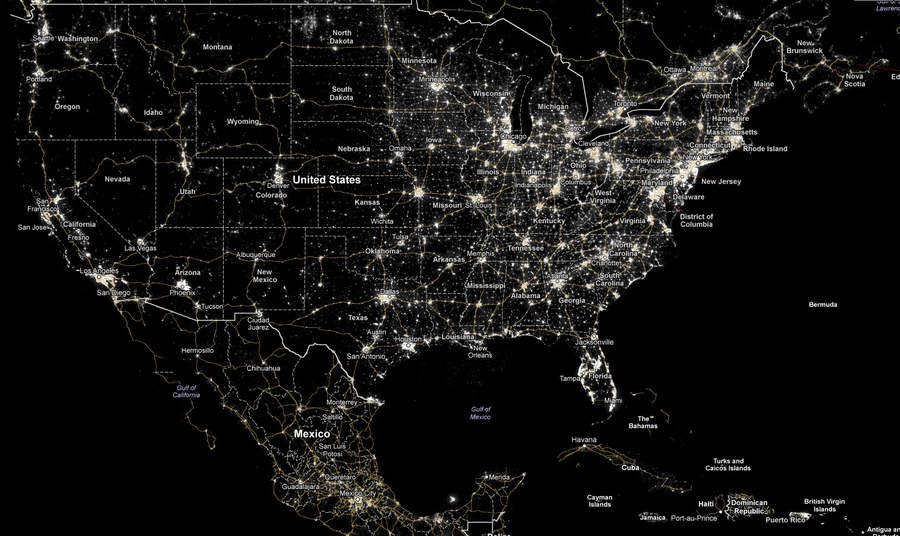 WordlessTech We Are Losing Our Starry Night - Us map at night from space