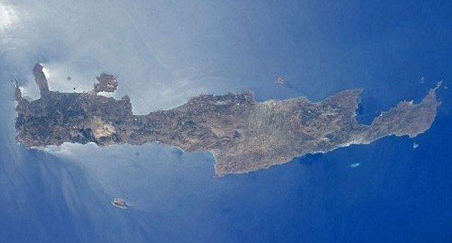 Island of Crete from space