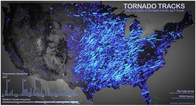 56 years of Tornados on a map