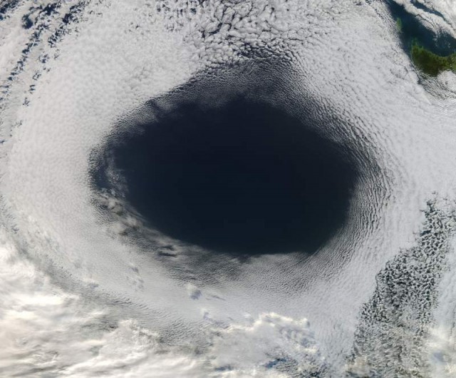 A Hole in the Sky by NASA's Aqua satellite